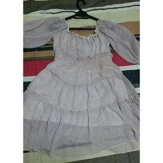 Pink Polka Dot Tiered Dress