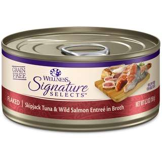 Buy 3 Get 1 Free! Wellness CORE Signature Selects Flaked Skipjack Tuna & Salmon Canned Cat Food 5.3oz
