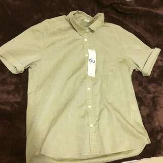 #八月免購物我送你 全新GU復古墨綠襯衫