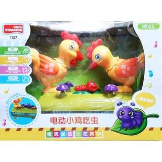 🚚 益智卡通音樂玩具 電動仿真小雞吃蟲 燈光趣味創意唱歌