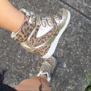 GOLD LEOPARD WEDGED SNEAKERS (SALE 50% off original listing)💥