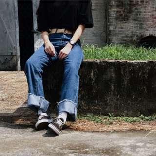 大反摺牛仔褲