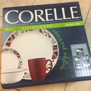 *NEW* CORELLE Livingware 16pc - Mosaic Red