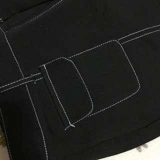 黑底白車線個性寬褲