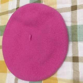 桃紅色毛料貝蕾帽