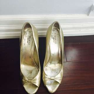 Authentic Gold Gucci Wedges