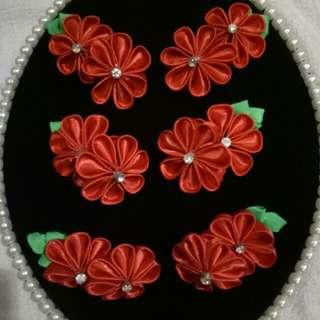 Hairclip Pin Rambut Bunga Merah