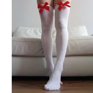 XS White Thigh High Socks With Red Bow