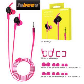 Jabees WE204M IPX 4 Sweat-proof Wired In-Ear Sports Headphones with Mic – Pink