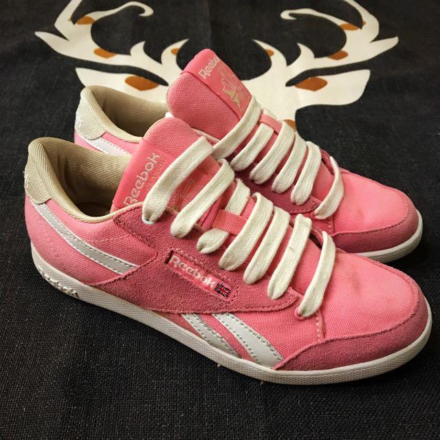 (400自取500含運) Reebok粉色麂皮帆布拼接球鞋