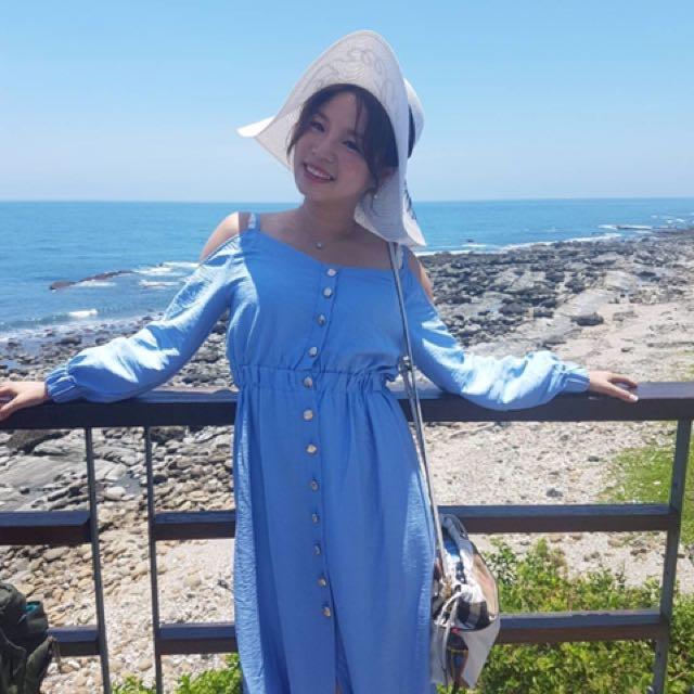 歡樂頌劉濤同款水藍色長洋裝