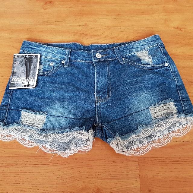 蕾絲牛仔短褲(L號)