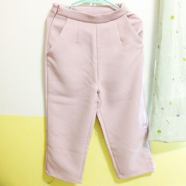 粉色西裝寬褲