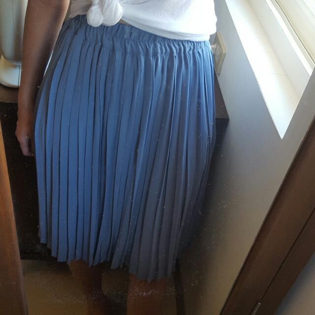 正韓 嫩粉藍百折長裙