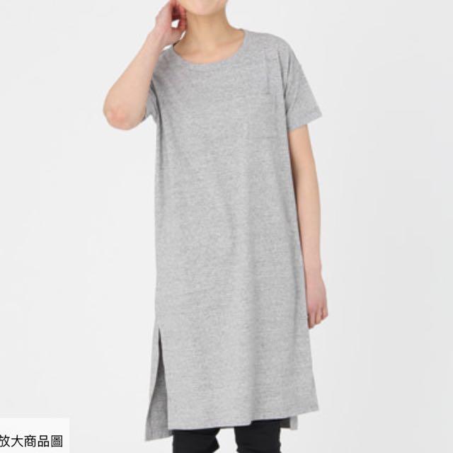無印良品 有機棉長版開衩洋裝