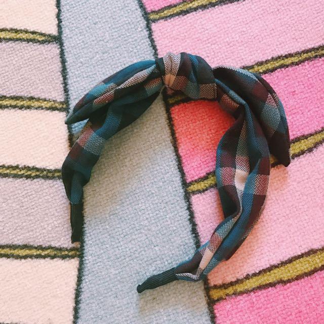 正韓 格紋扭結髮箍