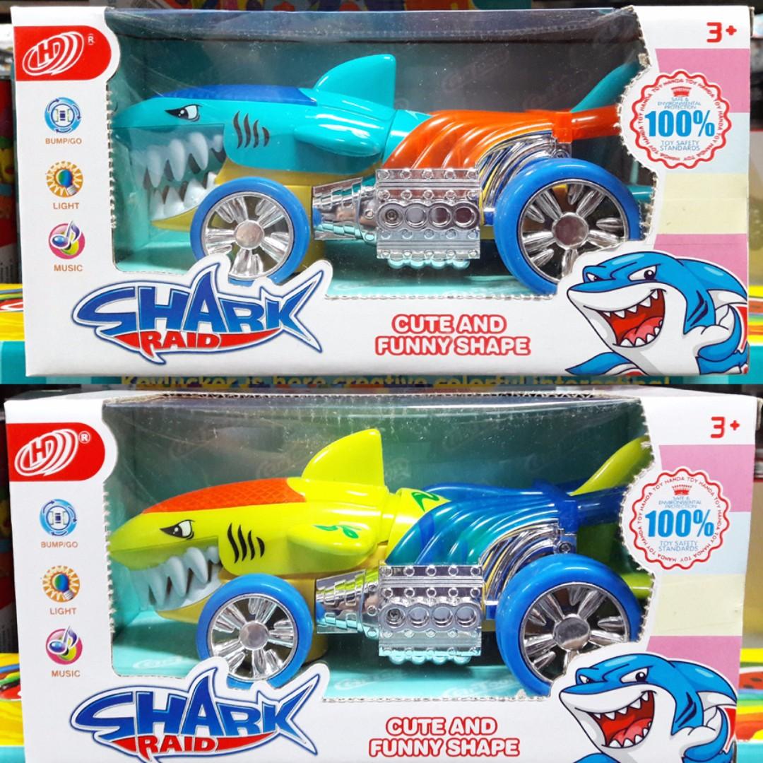七彩鯊魚造形電動遙控車 玩具車
