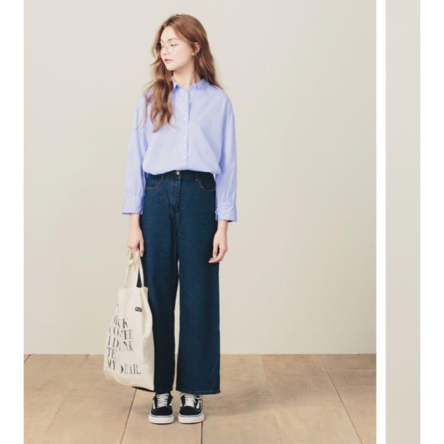 全新 直條紋淺藍襯衫pazzo