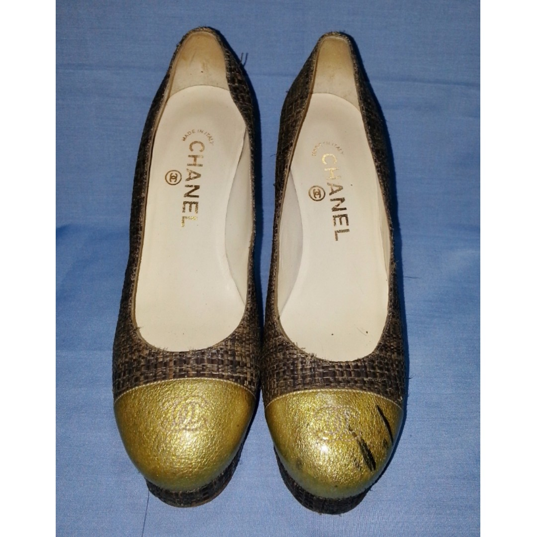 Authentic CHANEL Straw Notation High Heels Size 36 1/2