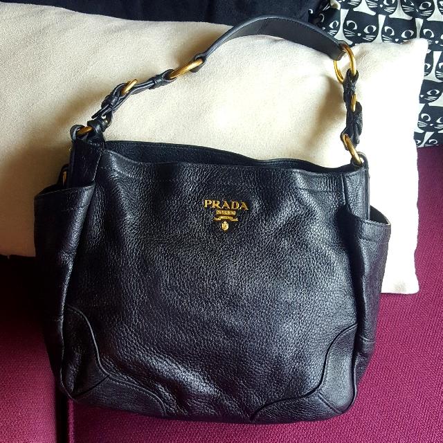 8408bb6e9c91 Authentic Prada Cervo Shoulder Bag In Black, Women's Fashion, Bags ...