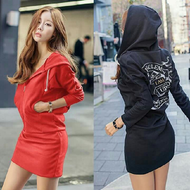 Back Print Hoody Sweater Dress