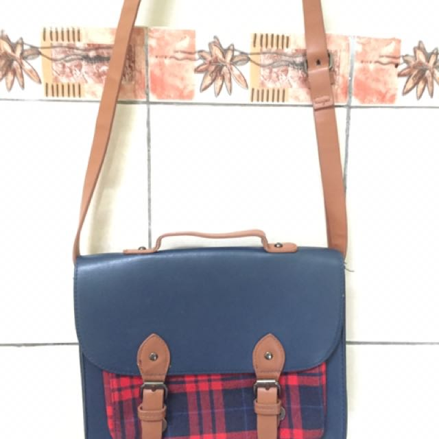 Bershka Plaid Satchel Bag