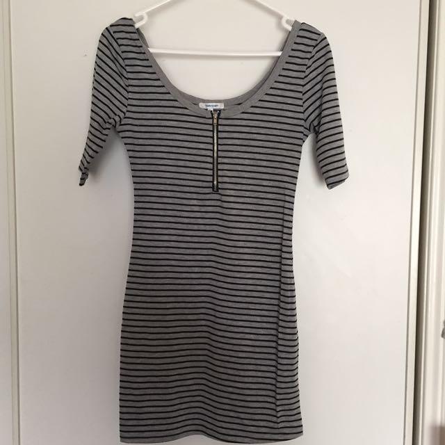 Black grey striped stretchy dress, Valleygirl size XS