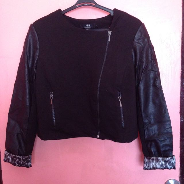 Black Jacket w/ Leather Longsleeves