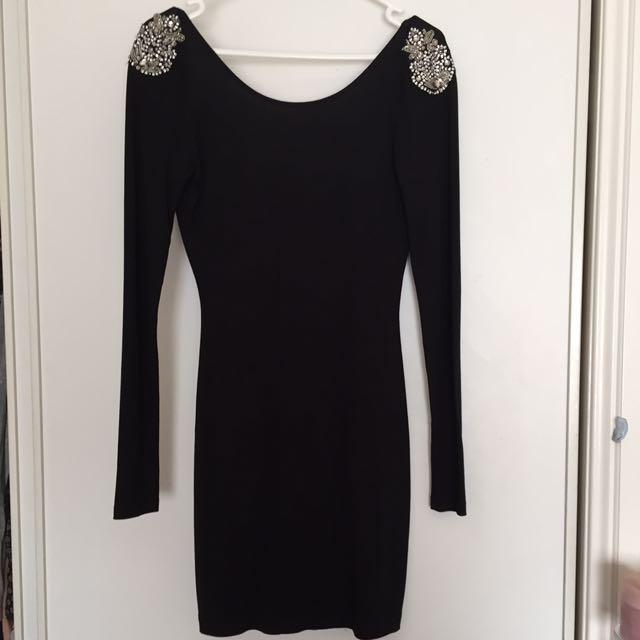 Black low back dress with shoulder detailing, ASOS, size 8.