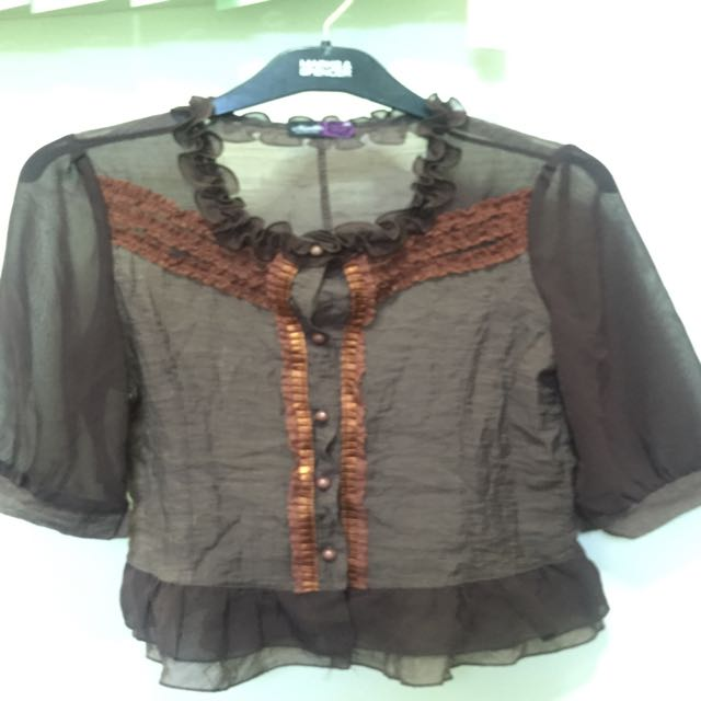 brown ruffled polo