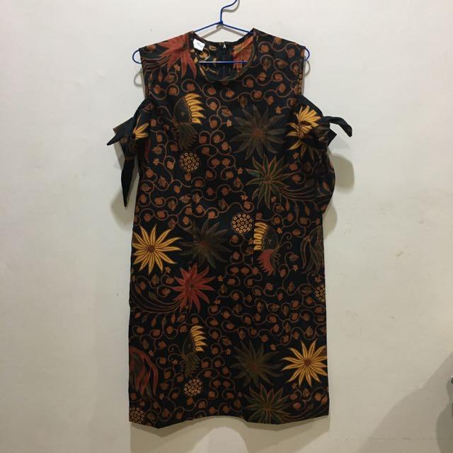 Brown Sabrina Batik Dress