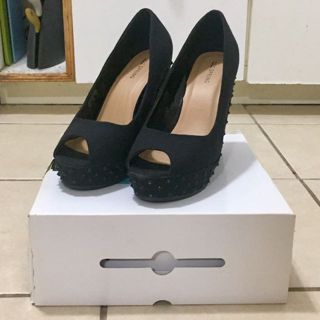 Call it Spring black wedge heels never worn, still in box