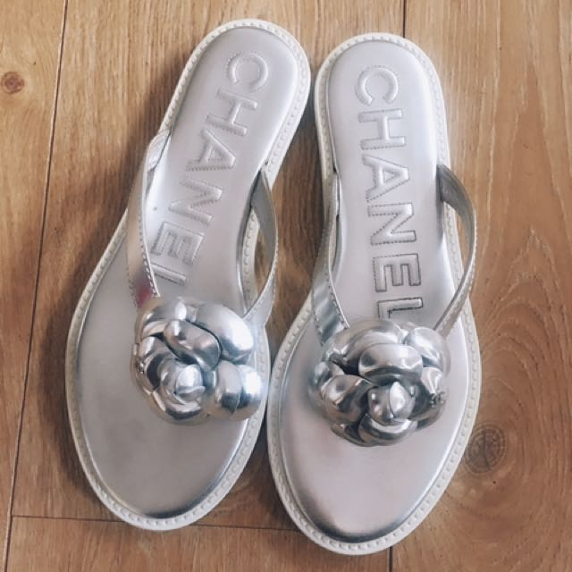 Chanel Thongs Silver