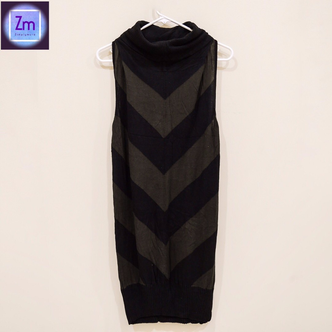 D Collection Olive Green & Black Stripes Sleeveless Knitted Dress (LBCA#9)