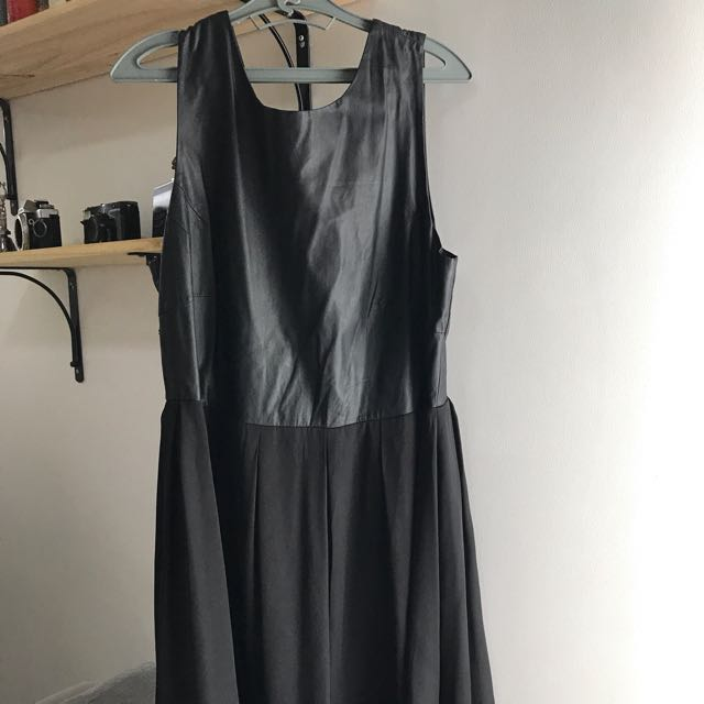 Forever 21 black dress with leatherette top