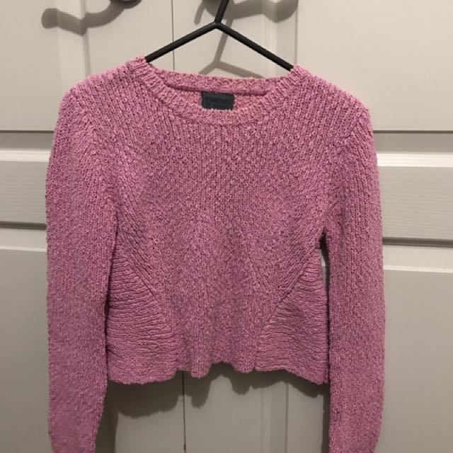 Friend Of Mine Cropped Pink Sweater