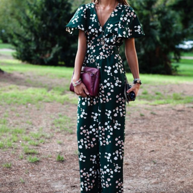 76e432be9809 H M Forest Green Printed Jumper   Jumpsuit