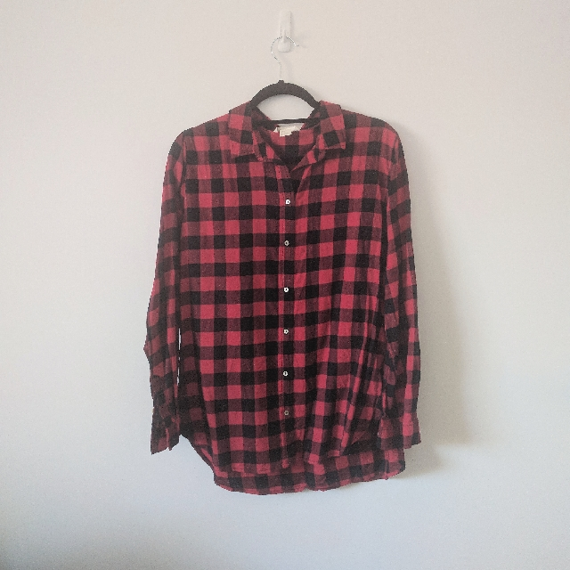 H&M Red Check Button Down