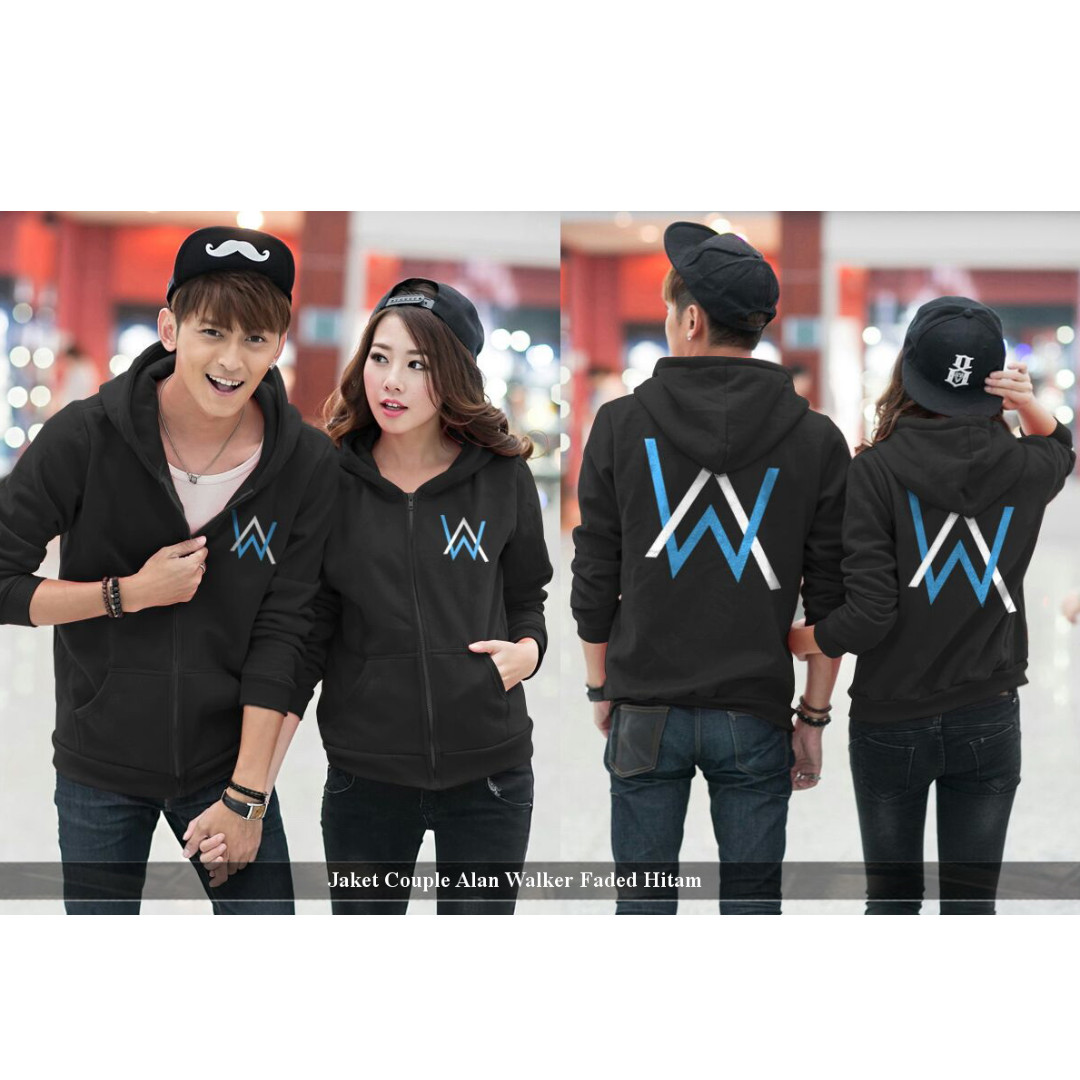 hoodie couple kekinian-jaket couple- jaket cp alan walker faded hitam