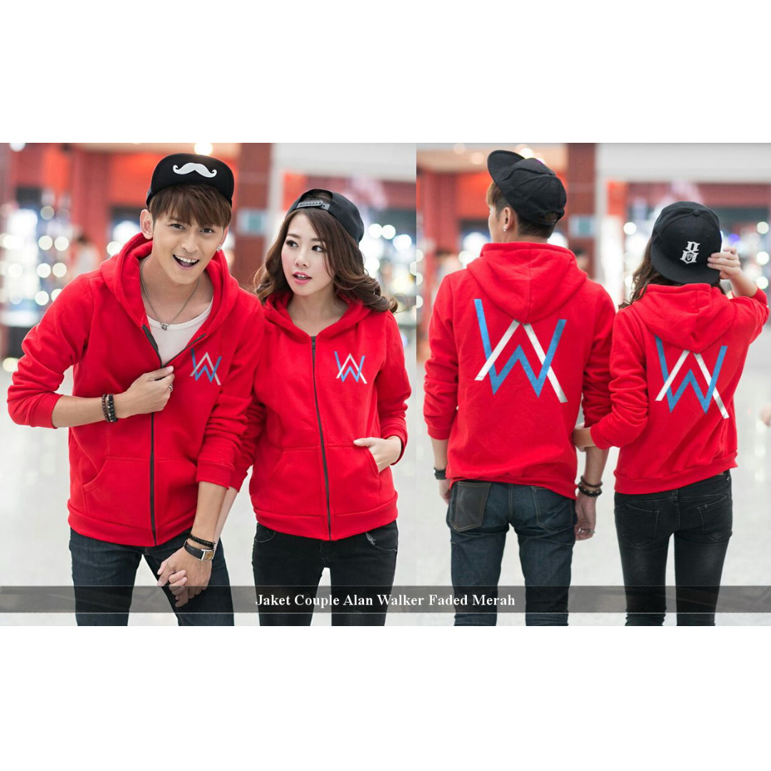 jaket couple murah keren-hoodie- jaket couple alan walker faded merah