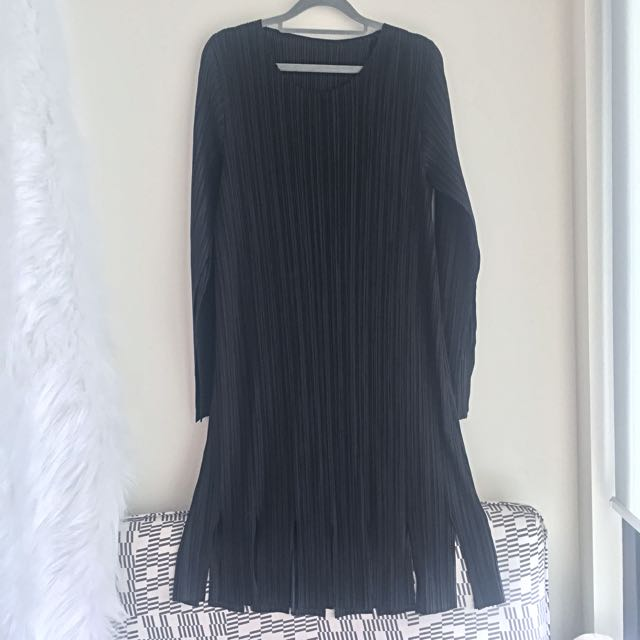 Micro Pleats LBD with Split Flare Sleeves