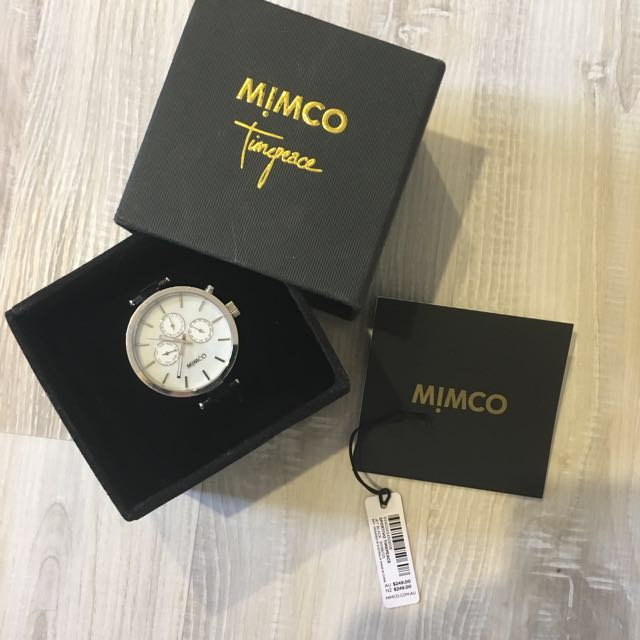 Mimco silver watch with black leather strap