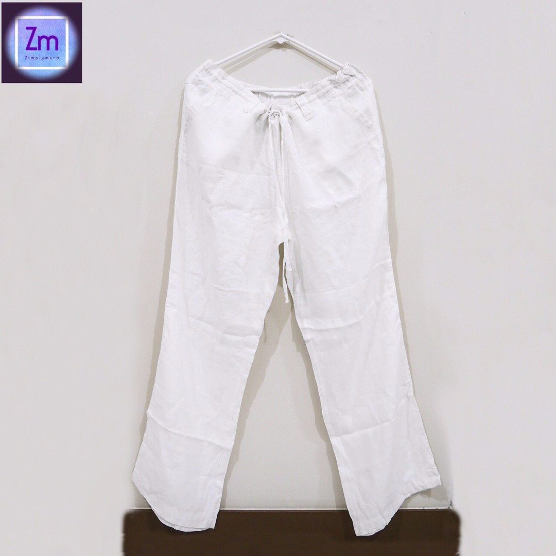 MOTHERHOOD Maternity White Linen Pants  (LSHP#8)