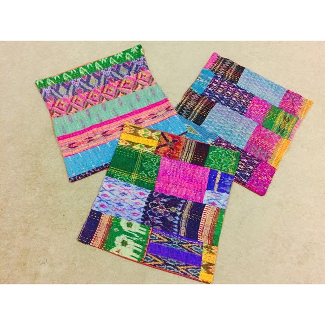 Multi Threadwork With Indian Fabrics Cushion Covers