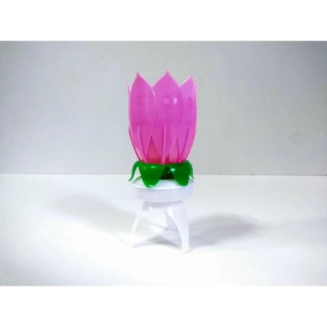 Musical Lotus Flower Rotating Birthday Candle Light Design Craft
