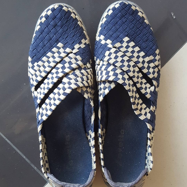 Navy Woven Slip Ons size 38