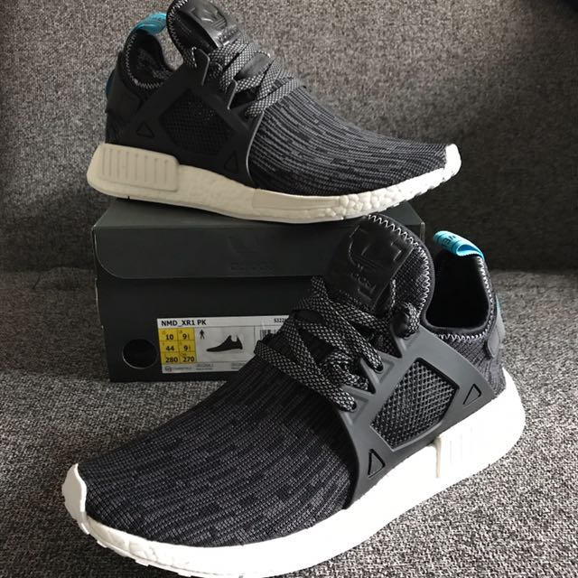 New Adidas Nmd Xr1 Prime Knit Charcoal Grey Blue
