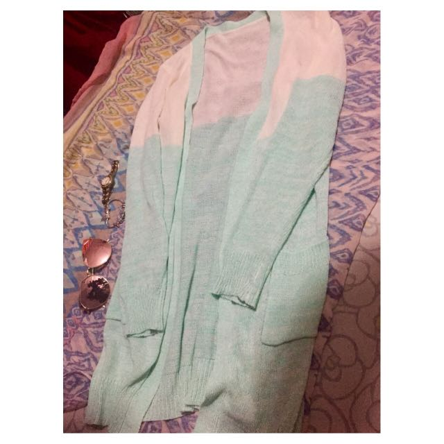 ombre knitted long cardigan
