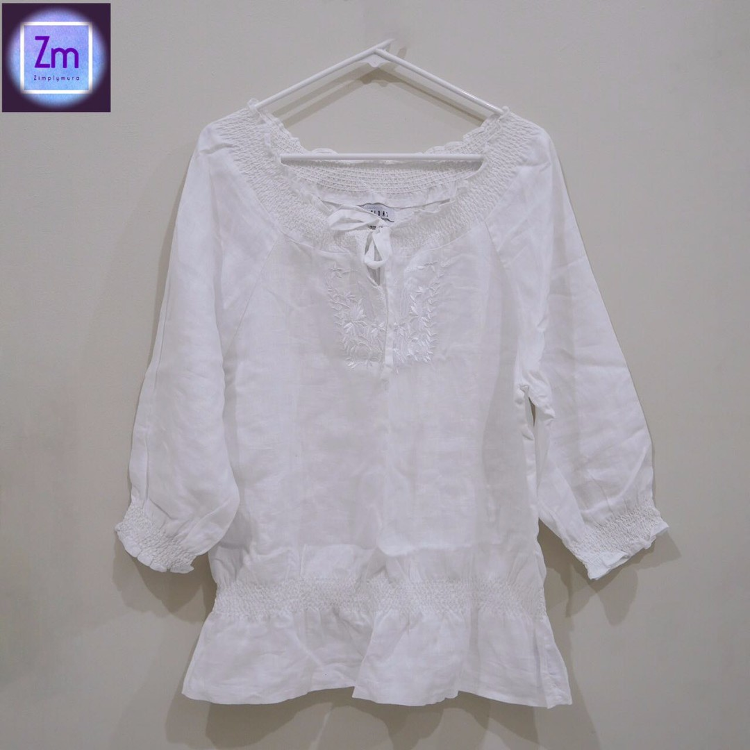 OPTIONS White Linen with Embroidery Blouse (LBCA#11)