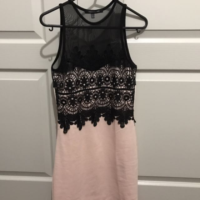 Pink & Black Lace Dress